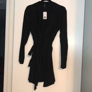 Casual black trench coat